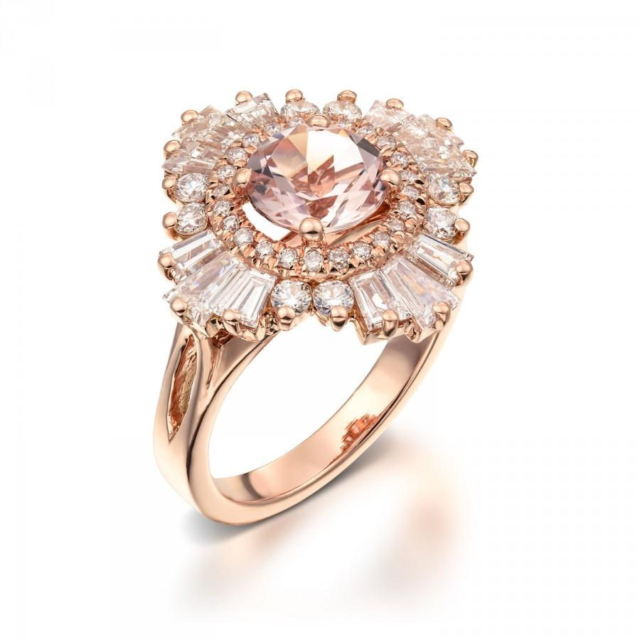 Vintage Engagement Ring 18K Rose Gold Diamonds And Morganite Art Deco Engage