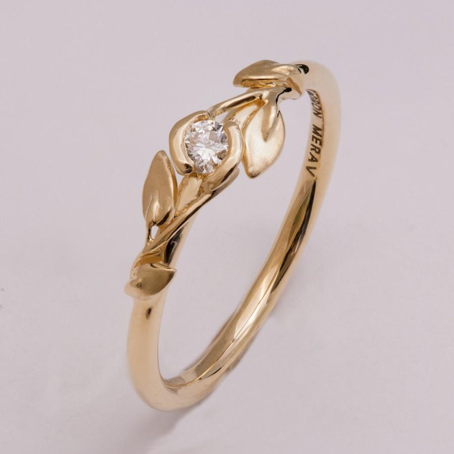 Свадьба - Leaves Engagement Ring - 14K Gold and Diamond engagement ring, engagement ring, leaf ring, filigree, antique, art nouveau, vintage