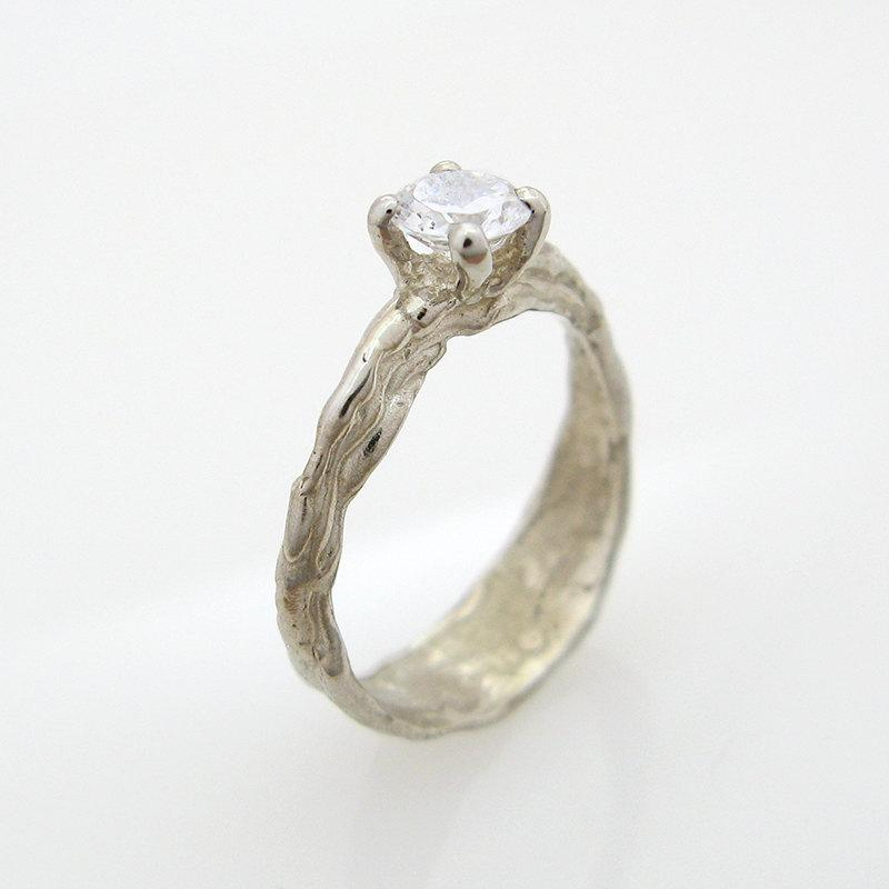 18k organic engagement ring white gold solitaire