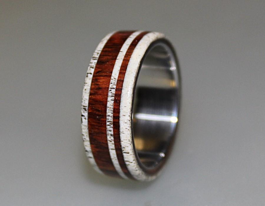 titanium ring with cocobolo wood and deer antler inlay wood ring antler ring titanium wedding band mens band - Deer Antler Wedding Rings