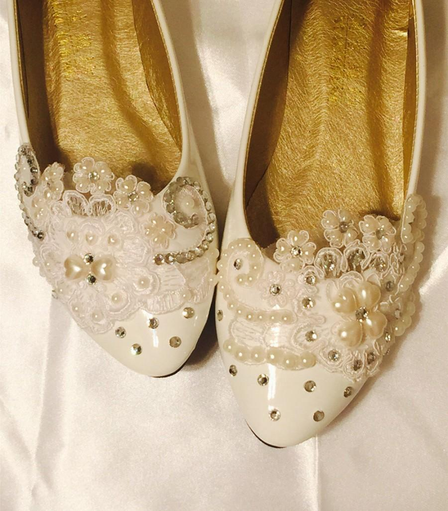 Свадьба - Wedding shoes flats,Ivory White Wedding shoes,Bridal Ballet Shoes,Comfortable Flats,Low Heels Flats,Womens Wedding Shoes