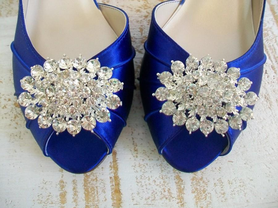 Свадьба - Wedding Shoes  - Blue Wedding Shoes - Handmade Wedding Shoes - Crystal -  Badgley Mischka -Choose From Over 100 Colors - Wide Size Available