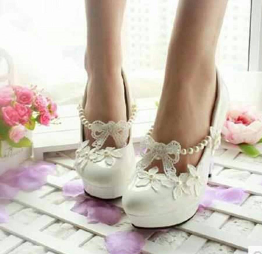 Свадьба - Wedding shoes bridal shoes wedding shoes low heel wedding pearl shoes low wedding shoes low bridal shoes
