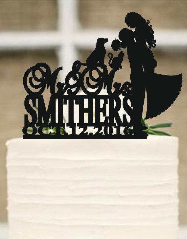 Wedding Cake Topper Silhouette Couple Dog And Cat Bride Groom