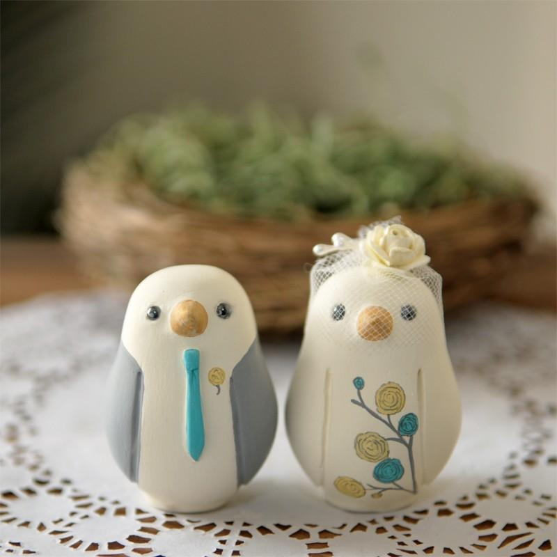 Свадьба - Custom Wedding Cake Topper - Small Hand Painted Love Birds with Nest and Painted Bouquet