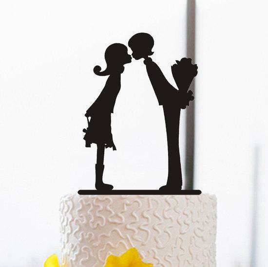 Свадьба - Proposal Cake Topper-Silhouette Cake Topper-Bride and Groom Cake Topper-Romantic Wedding Cake Topper-Cake Decoration-Rustic Cake Topper