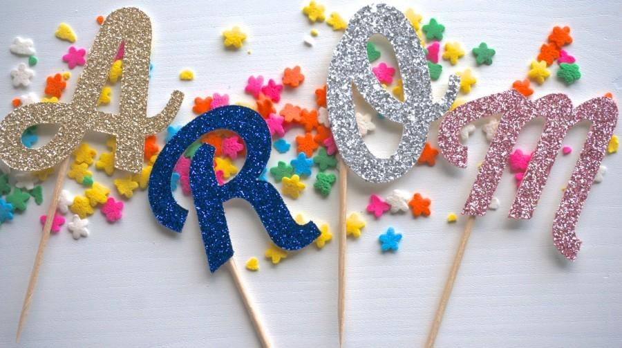 Свадьба - Custom Glitter Cursive Initial Letter Monogram Cupcake Topper Party Pick -- birthdays, bachelorette parties, wedding showers, baby showers