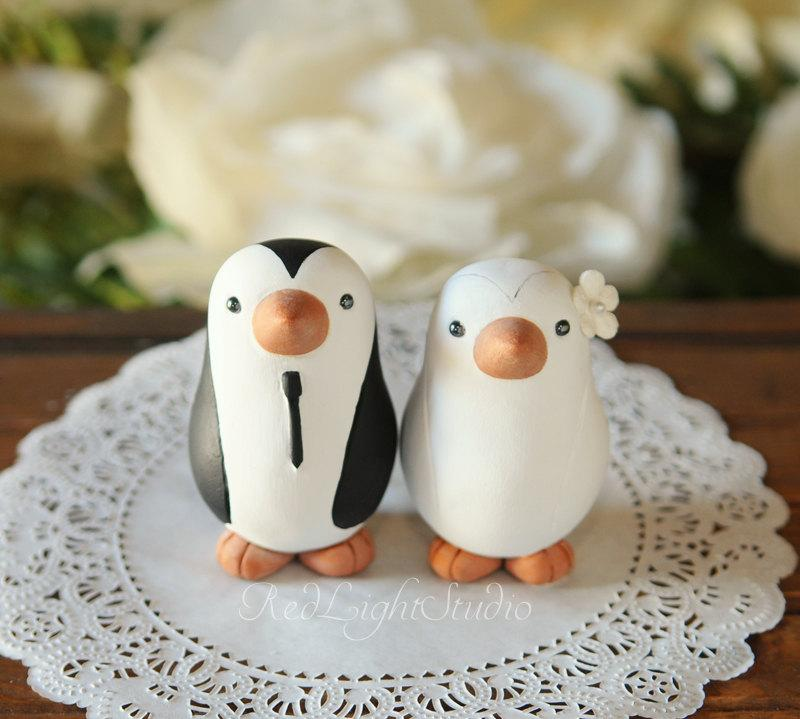 Свадьба - Wedding Cake Topper - Penguins - Medium