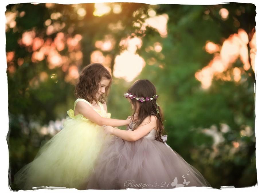 Wedding - Gray Flower Girl Dress, Gray tutu dress, Grey Flower Girl Dress, Grey tutu dress, Silver Flower Girl Dress, Silver Tutu Dress, Gray, Silver