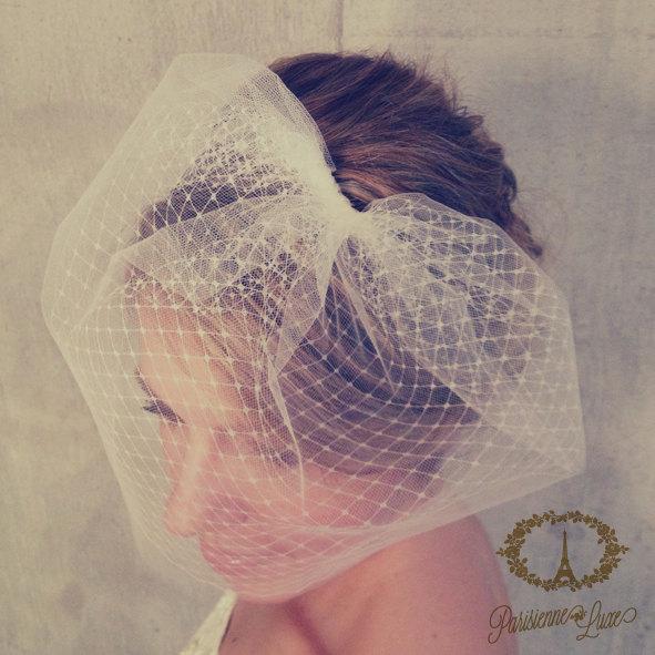 Свадьба - LOUISE - birdcage veil double layer, blusher veil, tulle & russian netting veil, bridal double birdcage veil, bridal veil, bird cage veil