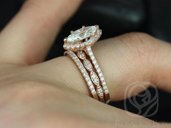 Wedding - Sasha 10x5mm & Christie 14kt Rose Gold Marquise FB Moissanite And Diamonds Halo TRIO Wedding Set (Other Center Stone Available Upon Request)