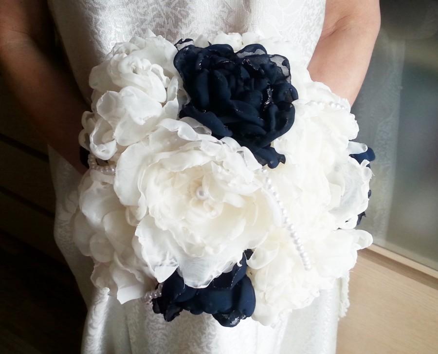 Mariage - Fabric Bouquet Shabby Chic Fabric Wedding Bridal Bouquet with Pearls HANDMADE flowers creme ecru dark navy blue royal blue satin handle