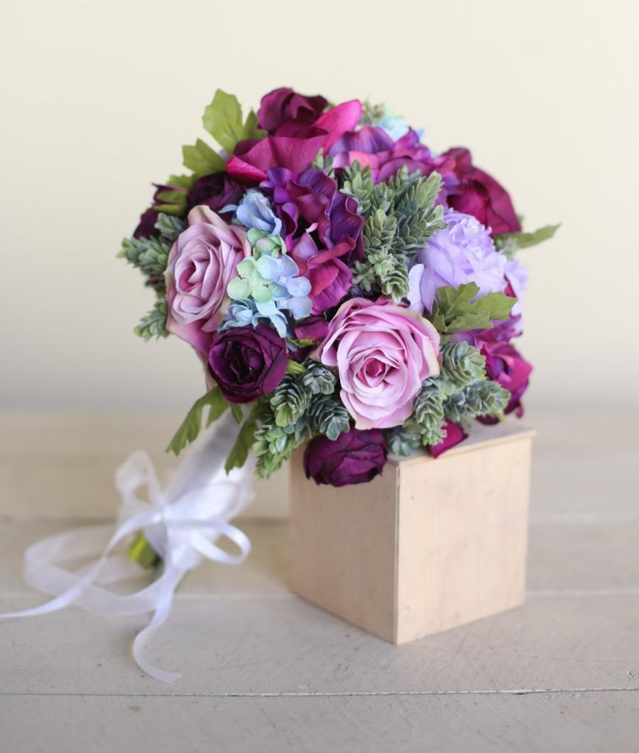 Mariage - Silk Bridal Bouquet Purple Roses Succulents Rustic Chic Wedding NEW 2014 Design by Morgann Hill Designs