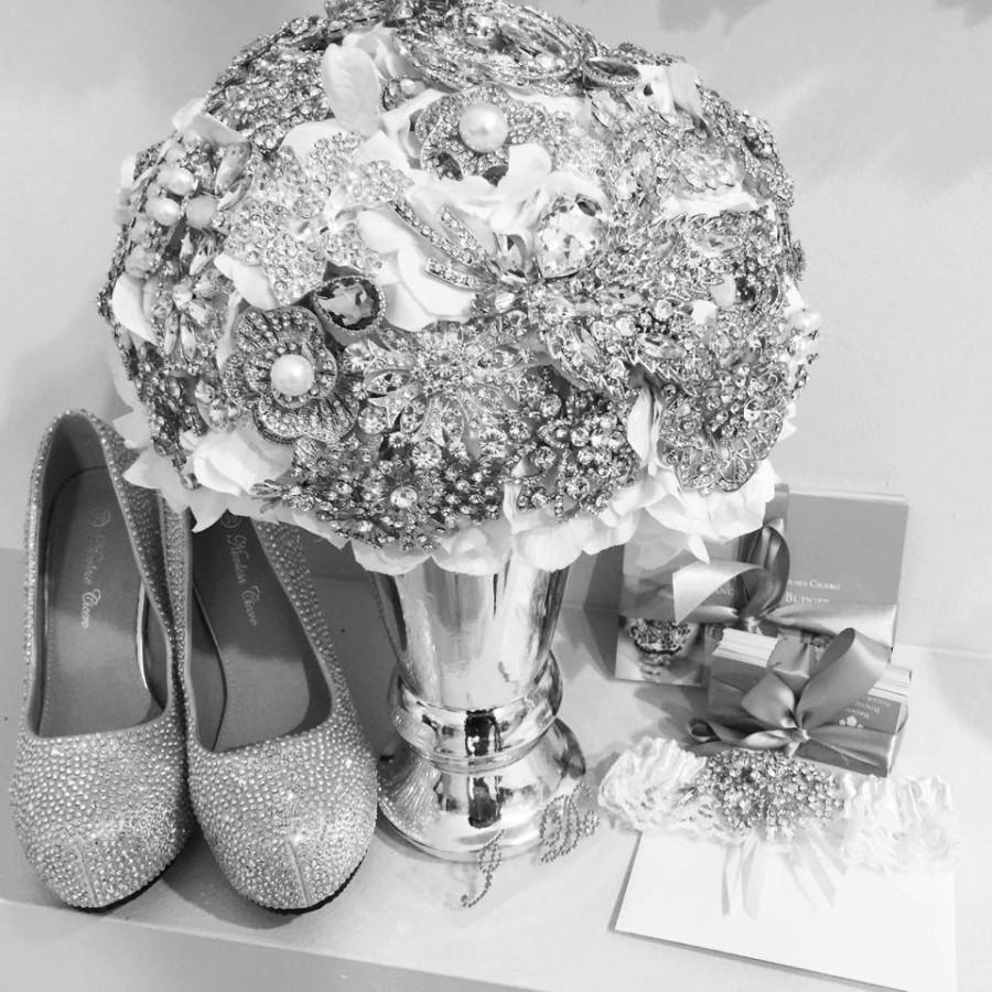 Mariage - Crystal Brooch Bouquet Similar to Snooki Nicole LaValle's