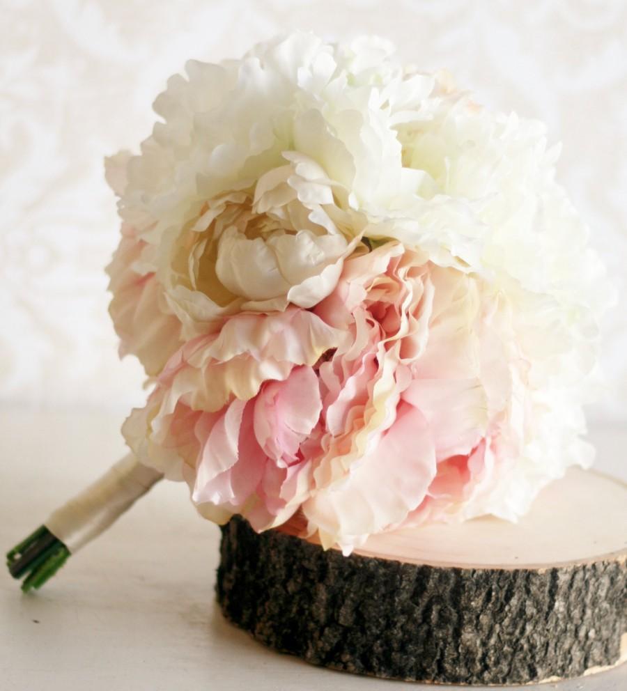 Mariage - Silk Bride Bouquet Peony Flowers Peonies Shabby Chic Wedding Arrangement