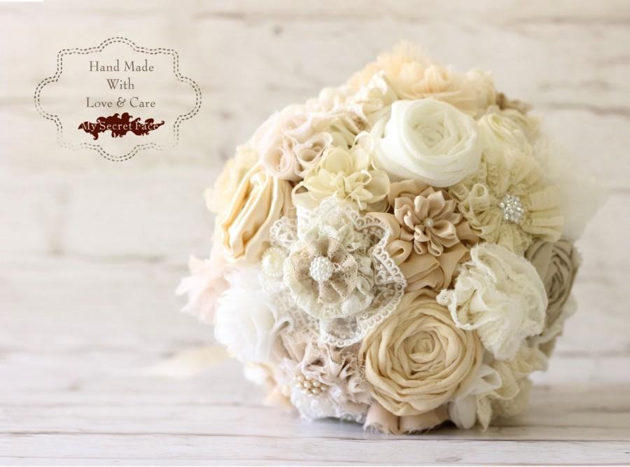 Mariage - Ivory bouquet, fabric bridal bouquet