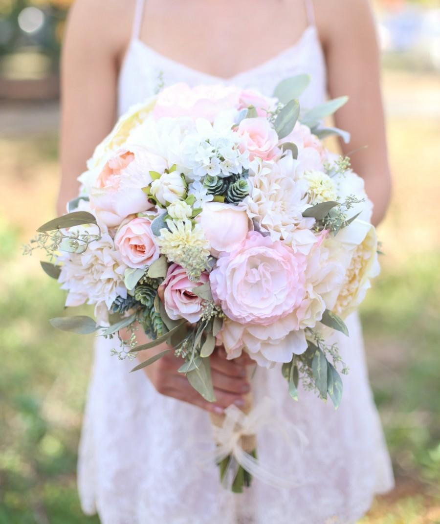 Mariage - Silk Bride Bouquet Cream and Pale Pink Roses and Peonies Wildflowers Natural Bouquet Shabby Chic Vintage Inspired Rustic Wedding Keepsake