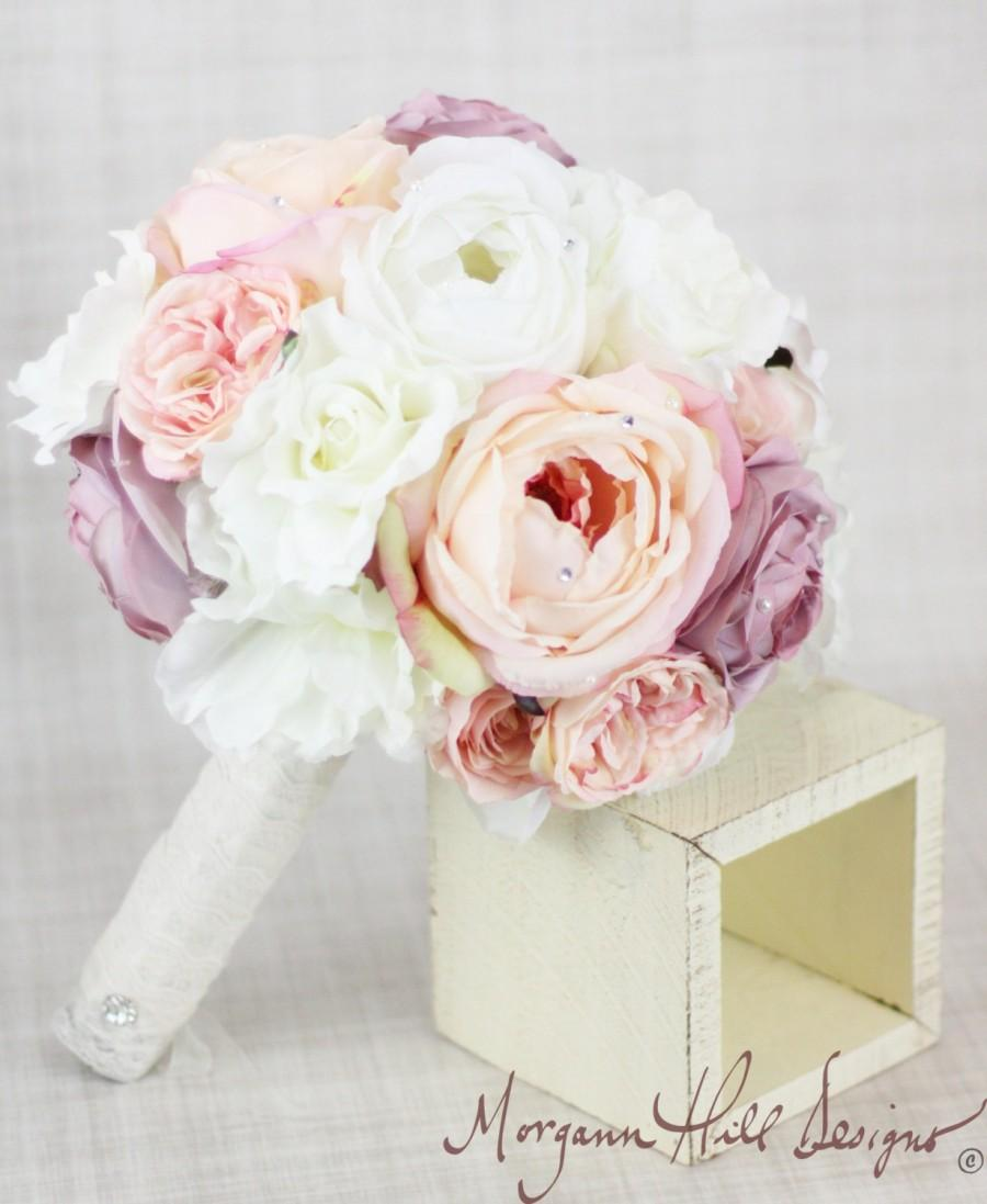 Свадьба - Silk Bride Bouquet Peony Peonies Roses Ranunculus Country Wedding Rhinestone Pearls Lace (Item Number 130109)