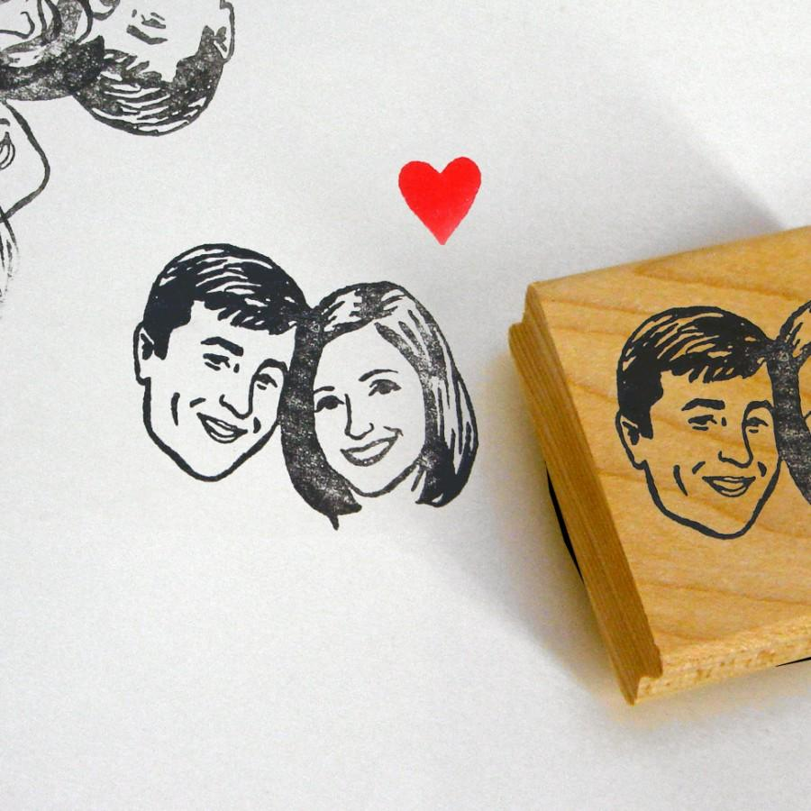 Wedding - Custom portraits couples stamps / self inking / wood block / for personalized wedding gift save the date fiancee couples him her cards