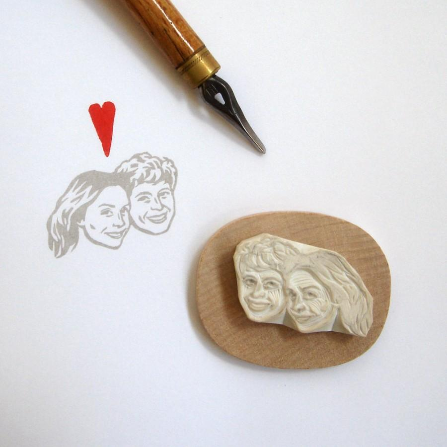 Wedding - Custom stamp / face couple portrait / hand carved rubber / for personalized stationnery favor marriage weddings gift couple engagement etc