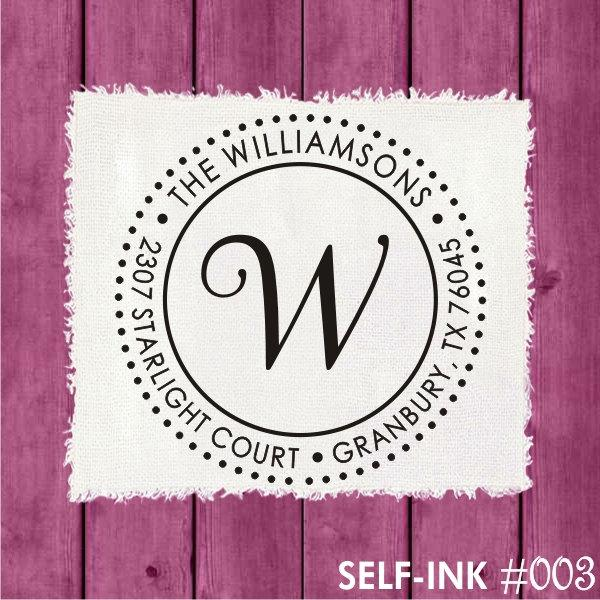 Wedding - Custom circle self-inking address stamp, personalized round rubber stamp (003)