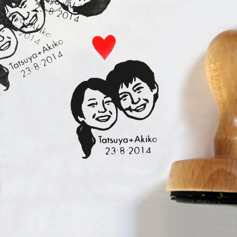 Wedding - Custom portrait stamps couple / self ink / handle / for weddings invitations save the date portrait stamp etc