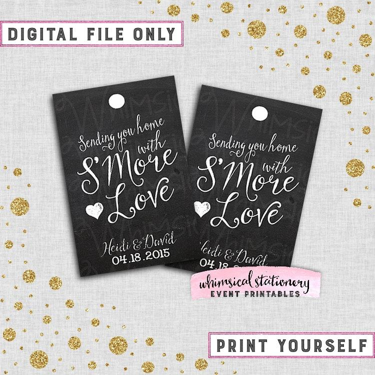 image about Printable Wedding Favor Tags referred to as SMore Enjoy Want Tags \