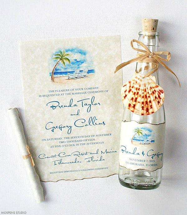 Mariage - Beach Wedding Invitations - Bottle Invitations - Wedding Invitations in a Bottle - Beach Scene