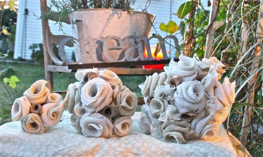 Mariage - Burlap Bouquets  Bridal Wedding Party Bouquet Set