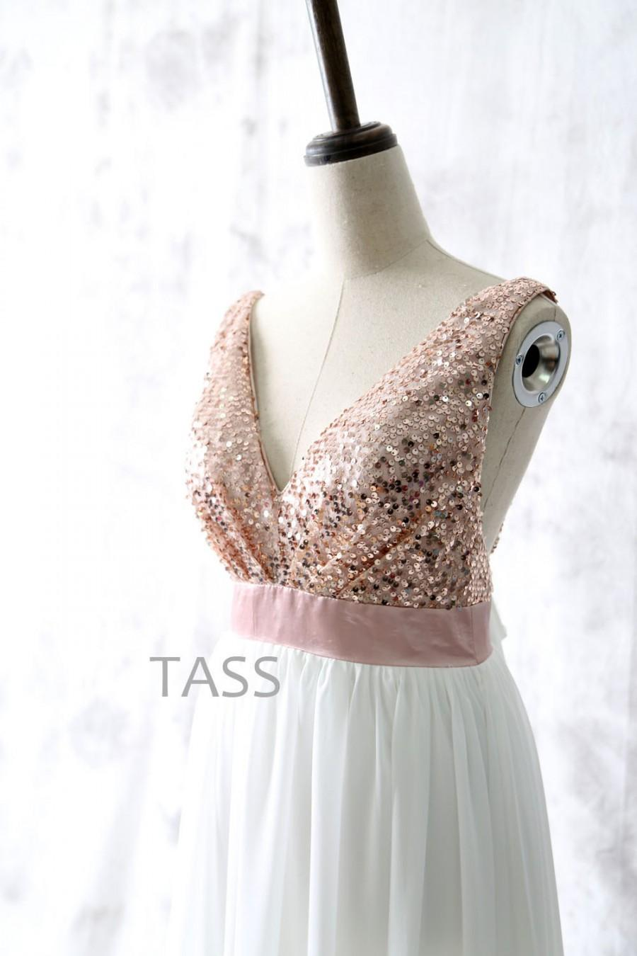 Sequin chiffon bridesmaid dresses with bow rose gold sequin sequin chiffon bridesmaid dresses with bow rose gold sequin bridesmaid gown straps v neck long sequin chiffon dress party dress ombrellifo Images