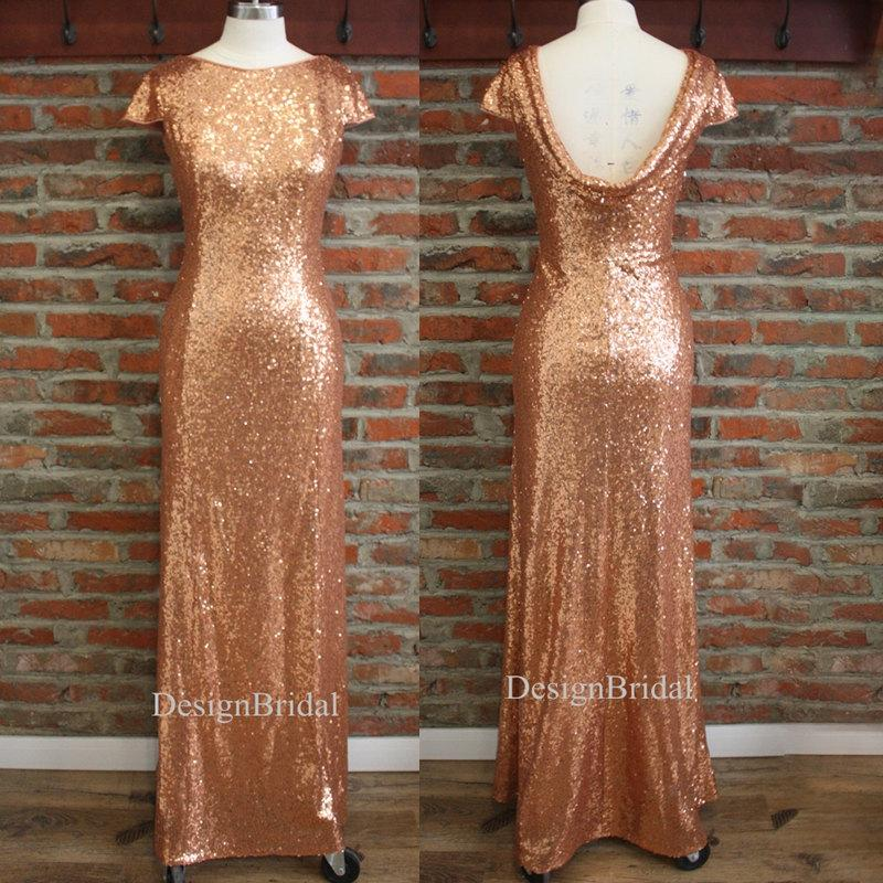 Rose Gold Sequin Bridesmaid Dress Cowl Back Formal Women Stetchy Evening Prom Party Cap Sleeves