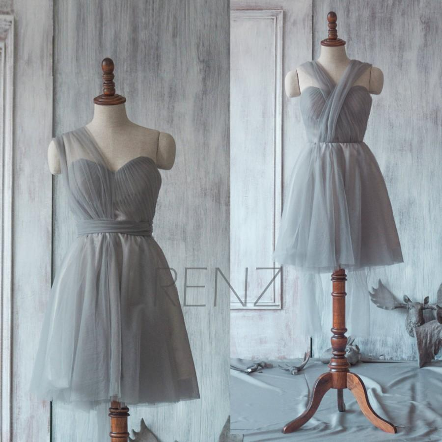 Düğün - 2015 Grey Convertible Bridesmaid dress, Gray A line Wedding dress, Party dress, Formal dress, Prom Dress (TS070)