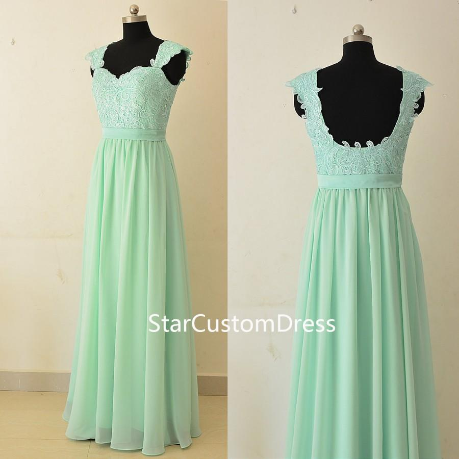 Mint long lace bridesmaid dress a line with cap sleeves chiffon mint long lace bridesmaid dress a line with cap sleeves chiffon bridesmaid dressmint green lace prom dresslace open back formal dress ombrellifo Gallery