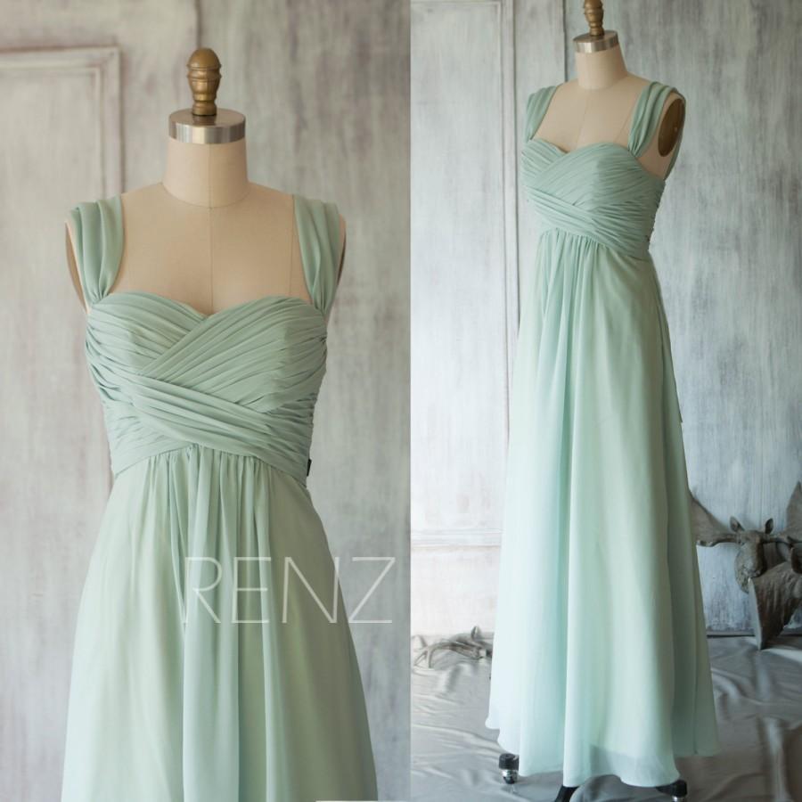 Mariage - 2015 Dusty Shale Chiffon Bridesmaid dress, Wedding dress, A line Double Straps Party dress, Sheath Formal dress, Elegant Dress (T080)