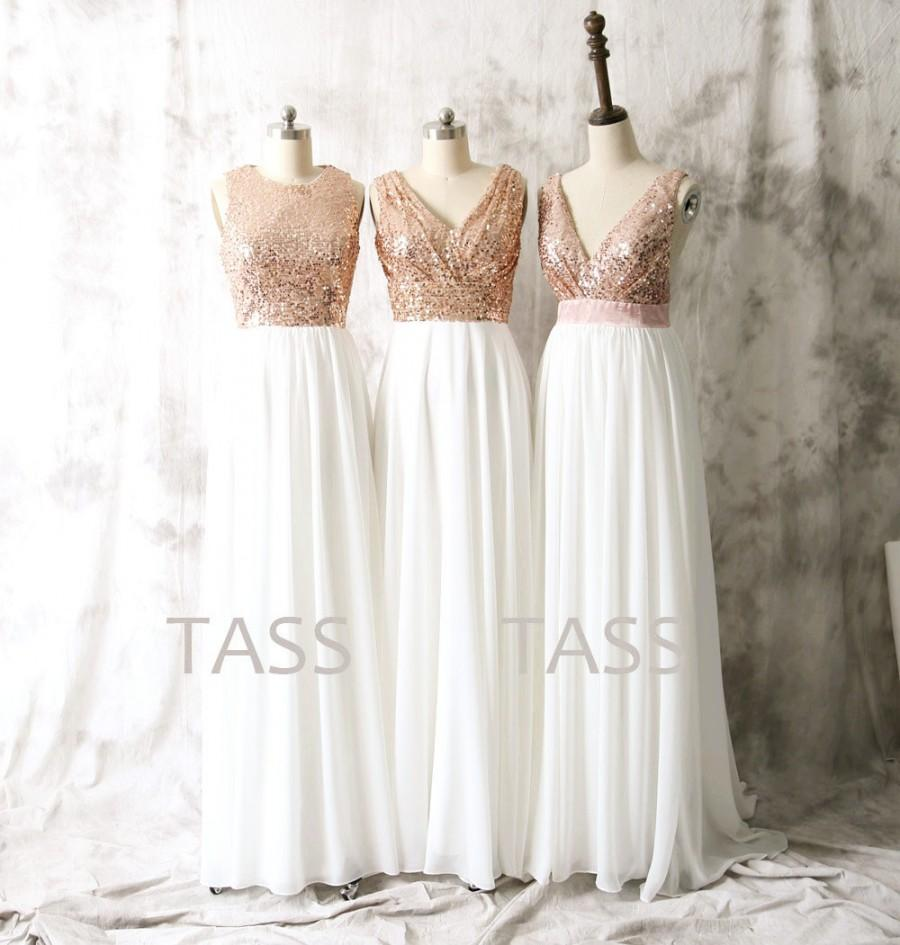 Sequin chiffon bridesmaid dresses rose gold sequin for Gold bridesmaid dresses wedding