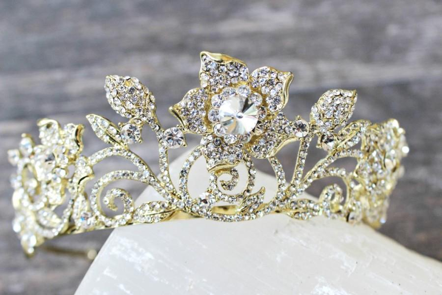 Mariage - Gold Bridal Tiara, Crystal Floral Tiara- ROSAFLORA, Swarovski Bridal Tiara, Wedding Crown, Rhinestone Tiara, Wedding Tiara, Diamante Crown