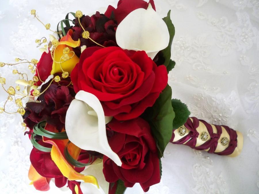 Hochzeit - Vintage Fall Autumn Red Burgundy Orange Destination Bridal  Boutonniere Exotic Realtouch Calla Lily Bouquet Set