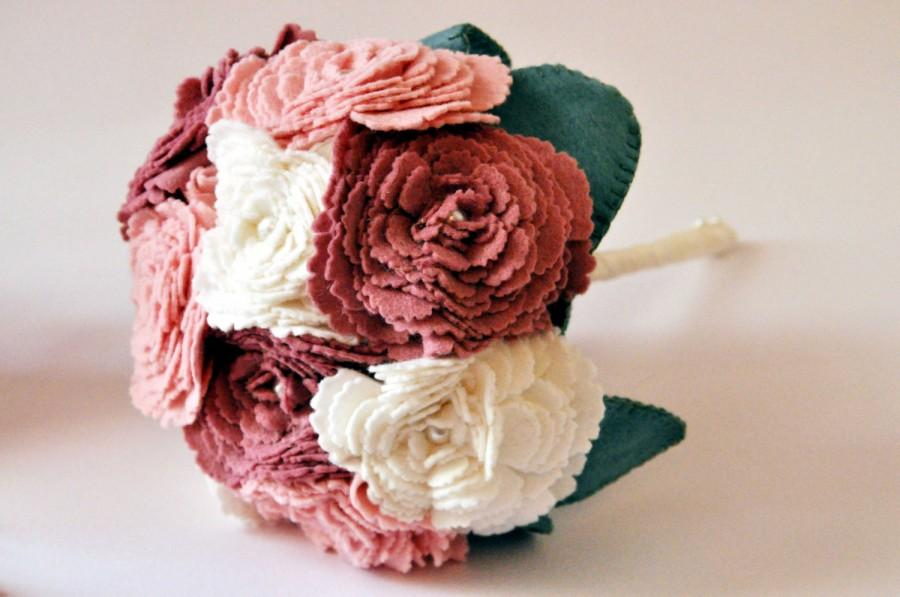 Peony Bouquet / Felt Flower Bouquet / Everlasting Wedding Flowers ...