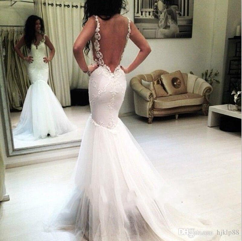 Real image mermaid sexy backless spaghetti wedding dresses for Sexy fitted wedding dress