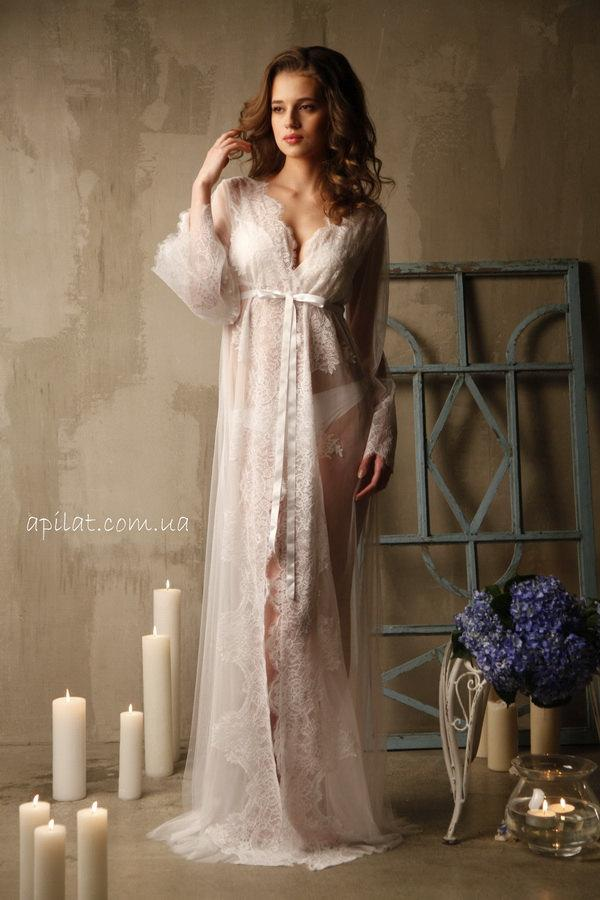 Lace-trimmed Tulle Bridal Robe F14(Lingerie, Nightdress), Bridal ...