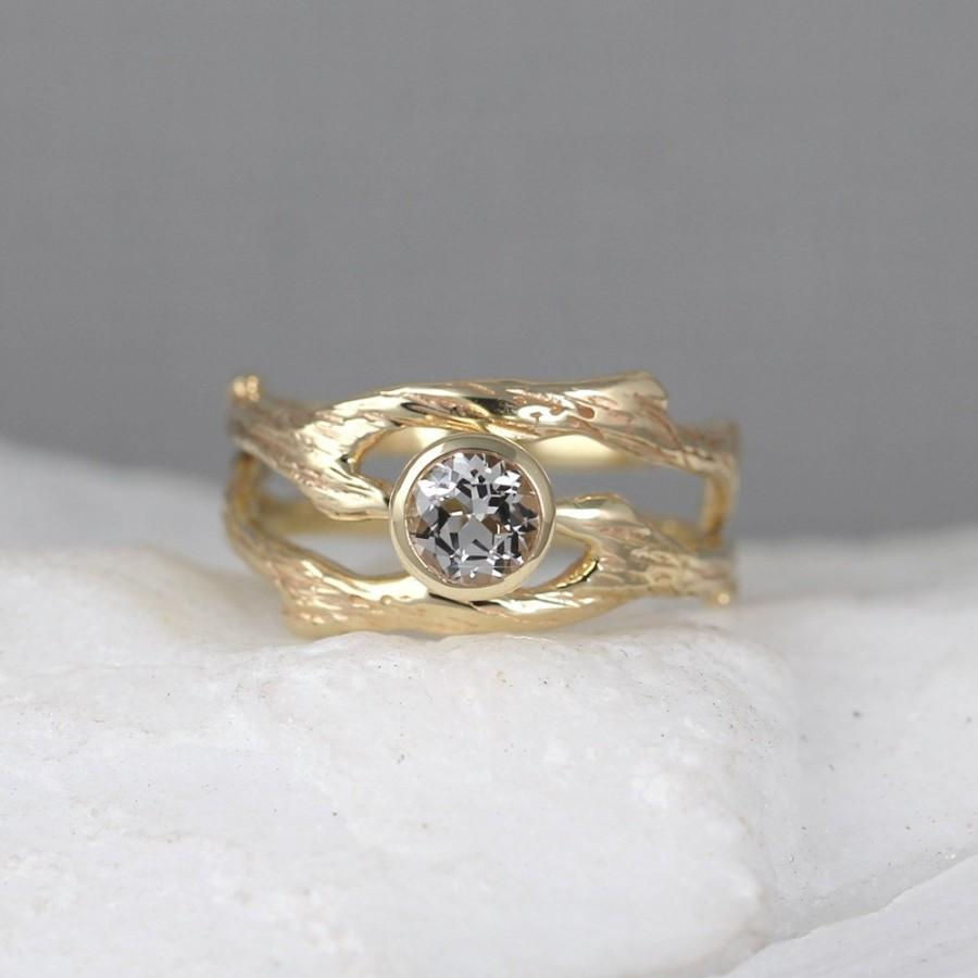 Branch Style Engagement Ring And Wedding Band Set  Twig Rings  White  Topaz  14k Yellow Gold  Alternative Engagement Ring  Nature  Tree