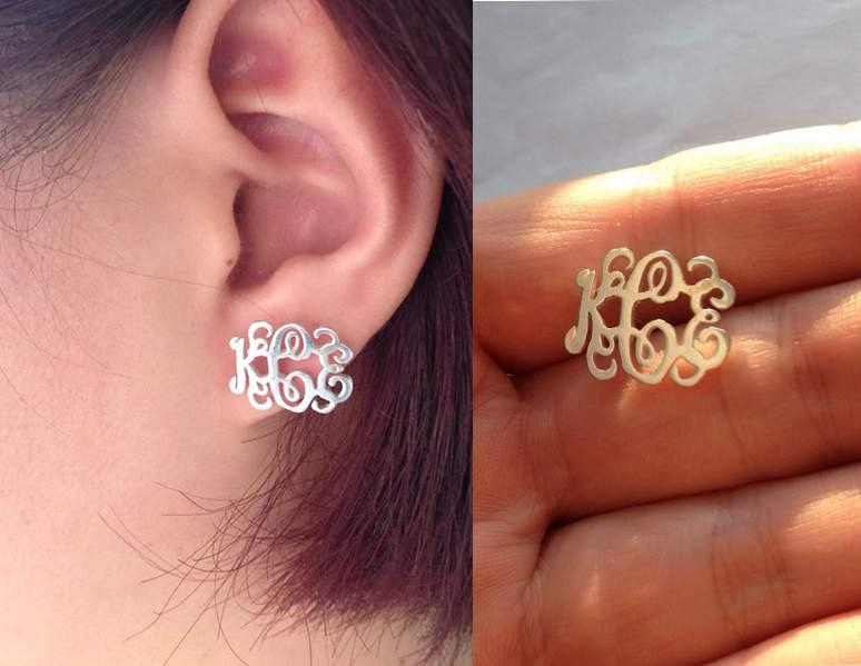 Personalized Initial Stud Earrings Silver Nameplate Custom Earring Script Monogram