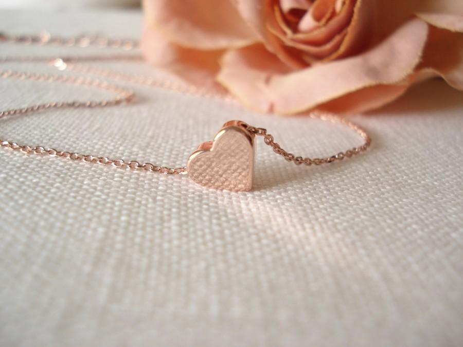 Tiny Simple Heart Necklace Rose Gold Handmade Bridal Jewelry
