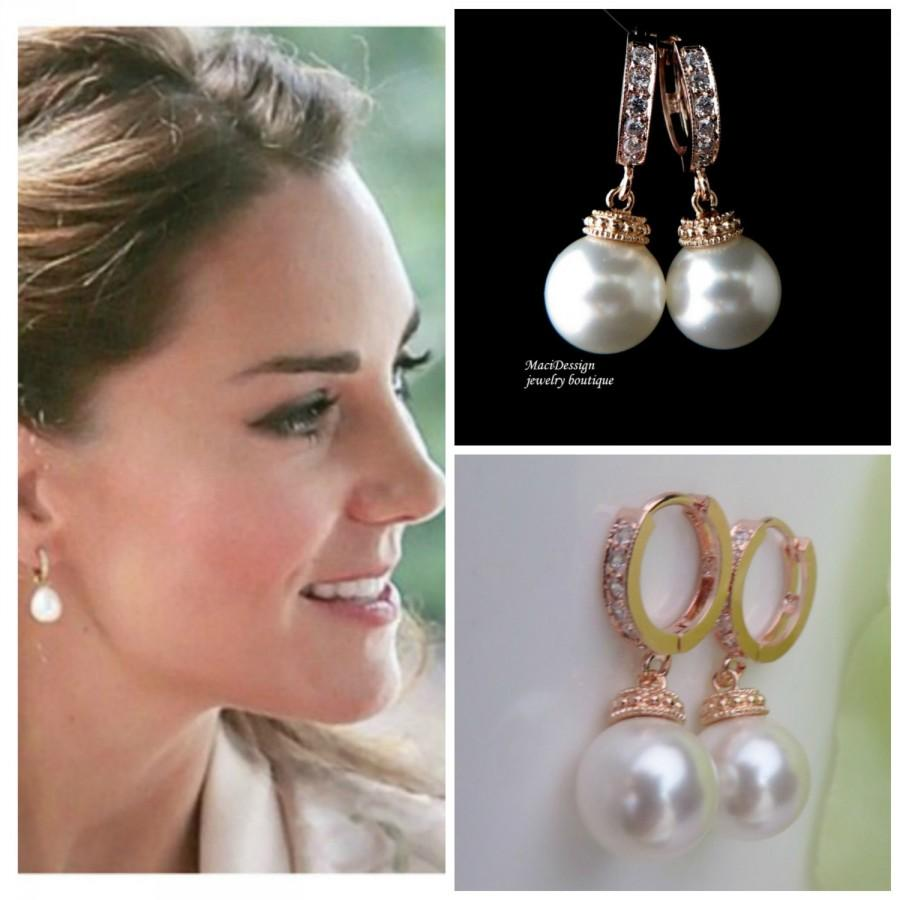 Kate Middleton Rose Gold Celebrity Inspired Bridal Cz Hoop Earrings White Swarovski Crystal Pearl Brides Pink Wedding Free Us Ship