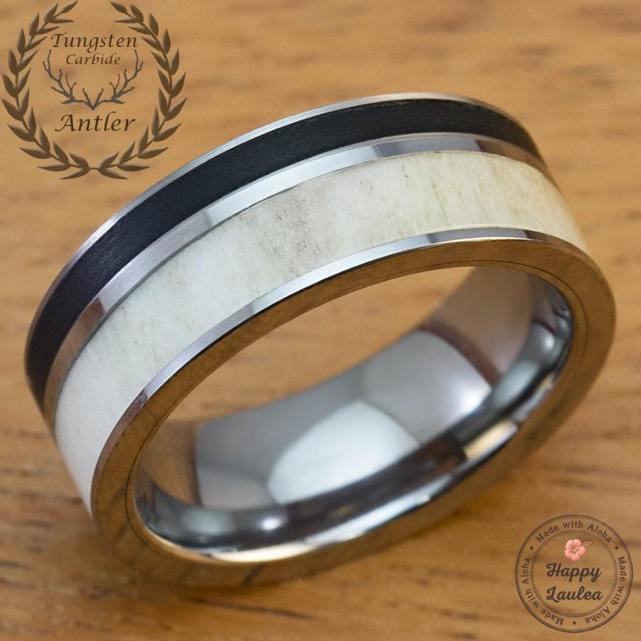 Solid Antler And Brushed Black Onyx Tungsten Carbide Men S Wedding