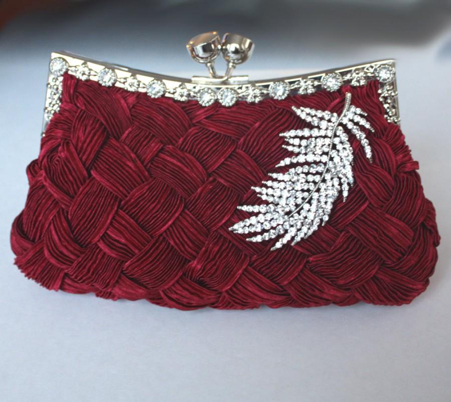 Mariage - Burgundy Bridal Clutch - satin with Swarovski Crystal feather brooch -made to order