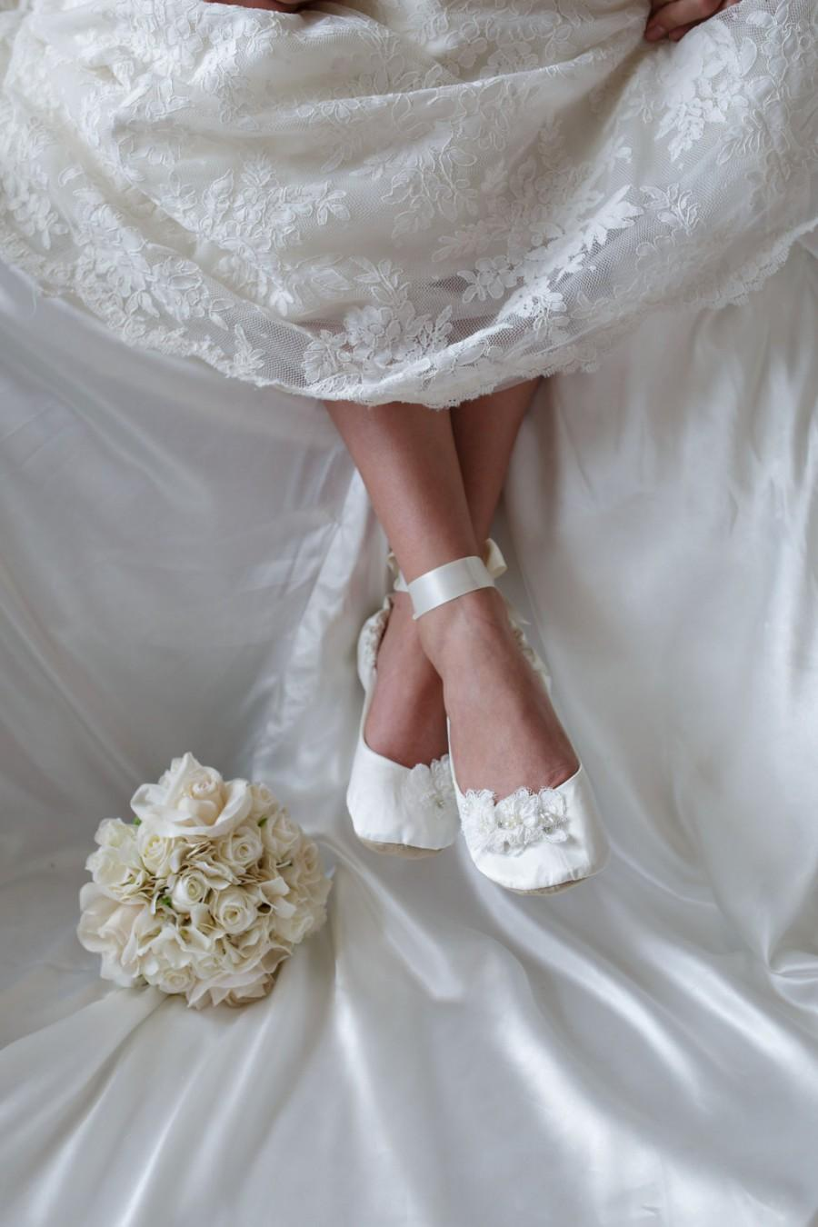 Flat Wedding Shoe Lace Bridal Rose ShoeIvory Cream