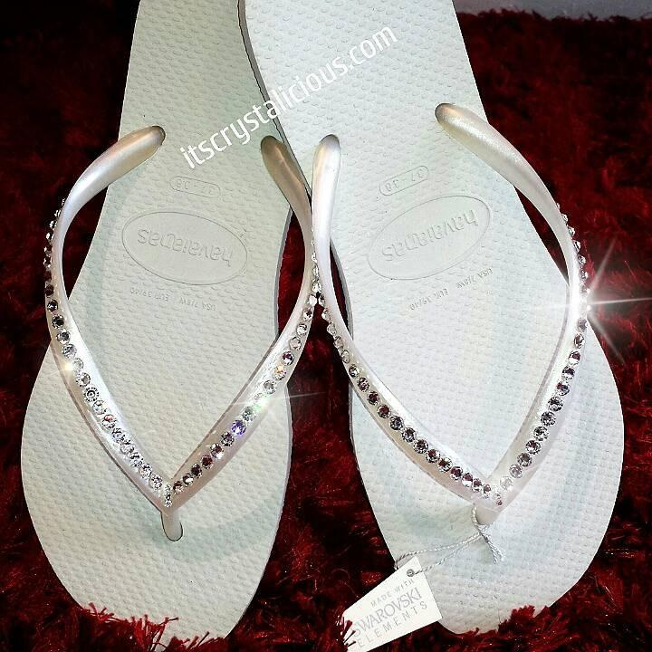 Boda - White Havaianas Covered In SWAROVSKI Crystal Bling Flip Flops - 1 Row