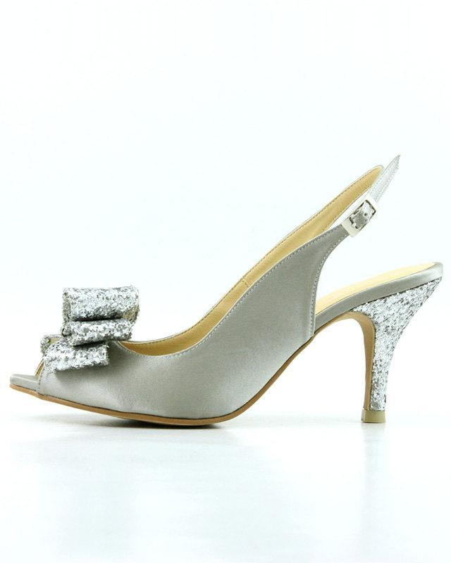 slingback bridal shoes silver satin wedding shoes silver slingback
