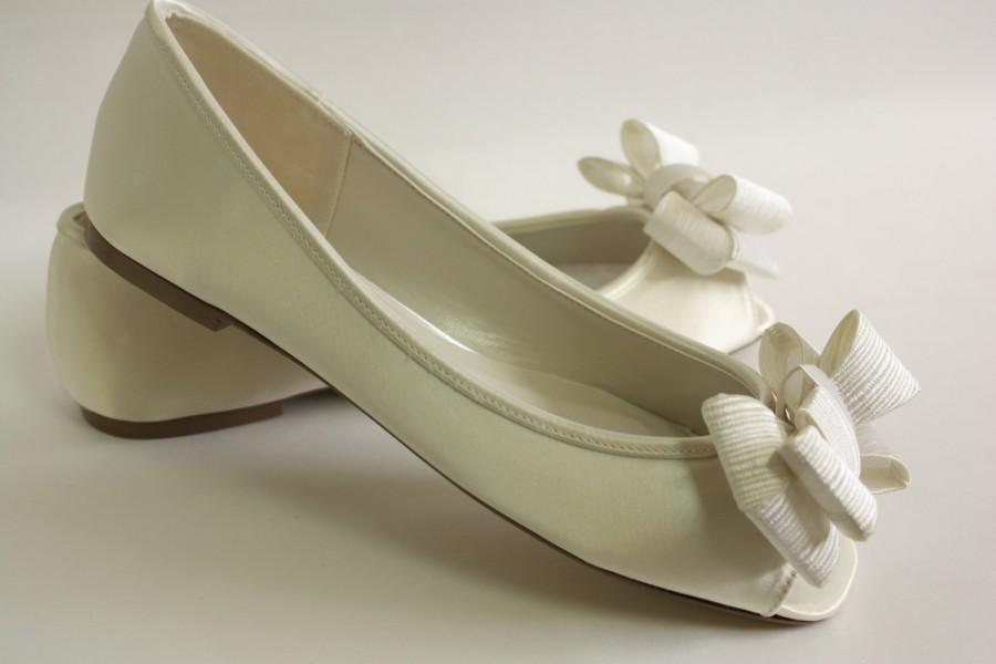 Ivory Wedding Shoes Flats - Large Bows - Choose From 100 Colors ...